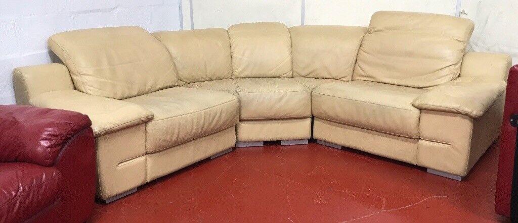 Yellowish leather corner sofa WE DELIVER UK WIDE