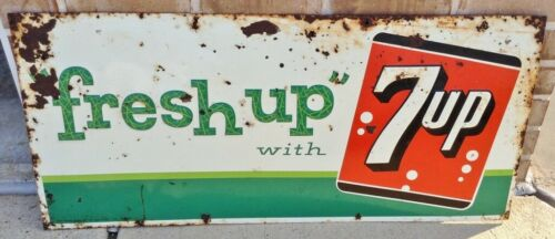 "Large Vintage 1961 ""Fresh Up"" with 7 Up Embossed Metal Sign Stout Sign Co"