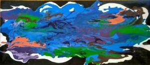 OAKVILLE 36x16 PANORAMA Poured Paint Abstract Art Original Painting Blue Green Orange Black White