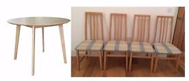New Round Natural Oak & Rubberwood Table & 4 Chairs FREE DELIVERY 450