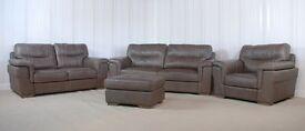 Homeflair Leather Grey Dayson Sofa (73) £999
