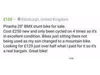 "Pirhanna 20"" bmx stunt bike"