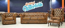 **NEW CHESTERFIELD - 3 PIECE SUITE, Real Leather**