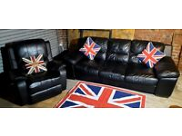 Lovely and stylish black leather 3 seater sofa and manual reclining chair ultimate comfort