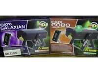 A pair of American DJ Galaxian and Gobo Micro Lasers