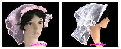 Schleier,Brautschleier,Kostüm,mit 5x Röschen,weiss/rosa