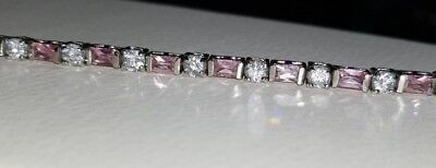 Kay Jewelers Kays Sterling silver pale pink sapphire emerald cut tennis -