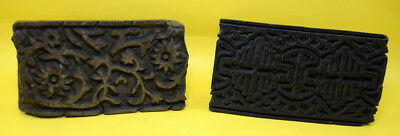 Lot Of 2 Vintage Design Wooden Textile Printing Block Unique Handmade. i77-94 UK