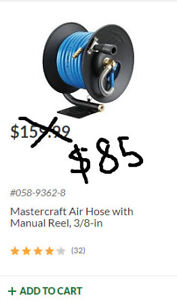 Mastercraft Air Hose with Manual reel 3/8 in. - Brand new in box