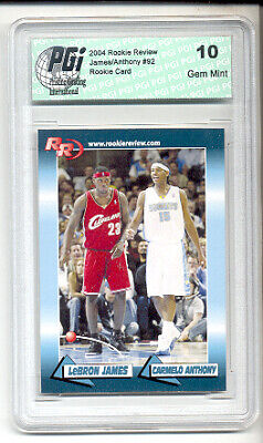 LeBron James Carmelo & Anthony 2004 Rookie Review Rookie Card #92 PGI 10