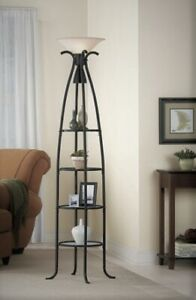 Torchiere floor lamp with glass shelves