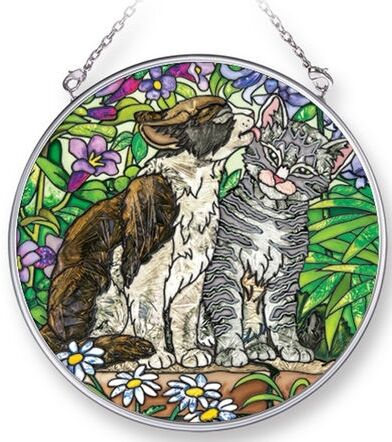 Amia BLUE GARDEN SECRET Painted Glass Medium Circle Shaped Suncatcher Cat & Dog