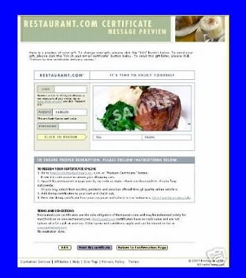 100 Restaurant Com Restuarant Gift Certificate Voucher