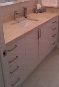 Bathroom vanity with quartz counter top and under mount sink