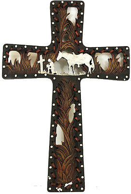 Western Cross Cowboy Horse Praying Design Hanging Metal Art Picture Wall Decor on Rummage