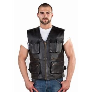 SKU: MV8006-11 Mens Leather Cargo Vest