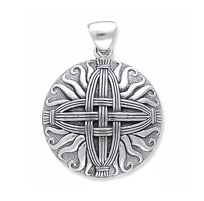 Sterling Silver Sunray Medallion St  Brigids Celtic Woven Straw Cross Pendant