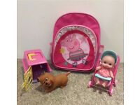 Peppa Pig Backpack Bag Girls Doll Dog Toy