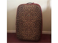 Large Leopard Print Suitcase with Red Trim