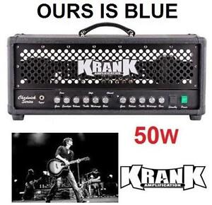 NEW KRANK 2CH TUBE GUITAR AMP HEAD Guitar Amp Head with Black Grill MUSICAL INSTRUMENT AMPLIFIER HEAD BLUE 106491334