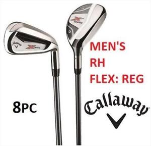 NEW CALLAWAY MEN'S 8PC RH IRON SET N415 200133398 GOLF  X SERIES 3h, 4h, 5 PW Regular Flex Shafts