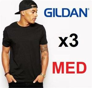 3 NEW GILDAN COTTON T-SHIRT MEN MED 188670224 MEN'S MED BLACK Classic Fit Adult