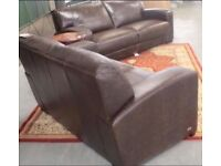 Brand new designer brown leather 3 and 2 seater sofas, may split to sell separately.