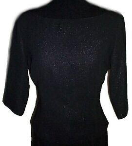 Elegant Black Boat Neck Dressy Sparkle Top - 10