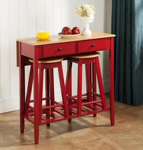 NEW KINGS COMPACT 3PC KITCHEN ISLAND BREAKFAST BAR SET - RED/NAT