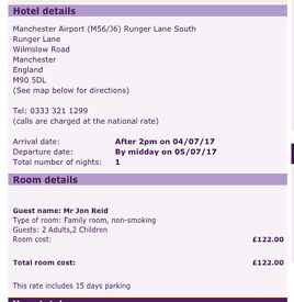 Overnight Hotel Manchester Airport & 15 Days Parking - July 2017