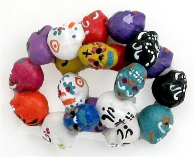 Day of the Dead Ceramic Beads, Assorted Colors, Hand Painted - Colors Of Day Of The Dead