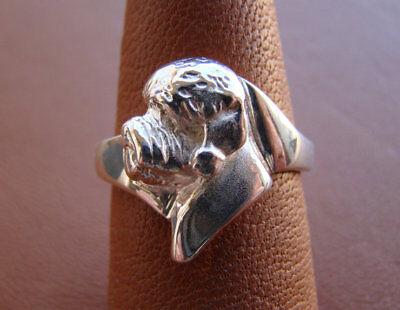 Large Sterling Silver Dandie Dinmont Terrier Head Study Ring