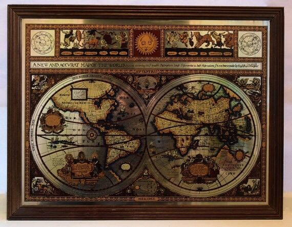 Framed vintage mirrored map the known world as it was in 1651 bar framed vintage mirrored map the known world as it was in 1651 bar mirror wall gumiabroncs Gallery