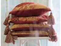 Laura Ashley Gold Red/Wine Cushions with Tassels (feather pillow included if wanted)