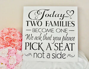"XL Wedding Sign 18"" Today two families become one"