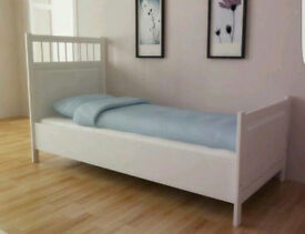 IKEA HEMNES white single bed with mattress, FREE DELIVERY