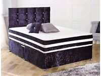 DOUBLE LUXURY BED - CRUSH VELVET SET - BIG LUXURY MATTRESS - DELIVERED -BRAND NEW