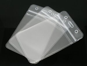 10x SHOW Clear Vertical ID Badge Card Plastic Pocket Holder Pouchs 109 x 69mm