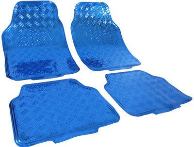 Auto Gummi Fußmatten universal Alu Riffelblech Optik chrom blau ()