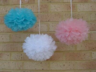 18x pink blue white tissue paper pom poms gender reveal baby shower party decor