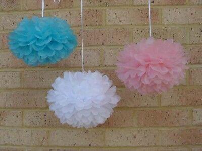 18x pink blue white tissue paper pom poms gender reveal baby shower party decor ()