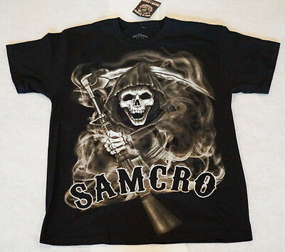 Sons of Anarchy Smoked Men's T-shirt Spooky Reaper SOA Large Short Sleeve