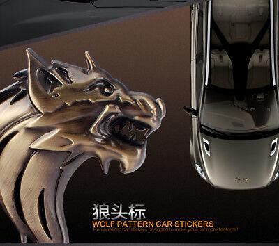 School Spirit Items (2pcs 3D Wolf Head Pattern SOLID Metal Car Motorcycle Sticker Decal Emblem)
