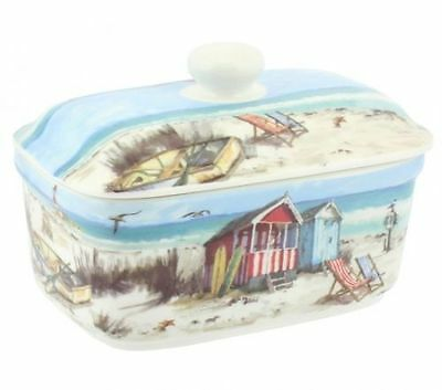 "Seaside Theme ""Sandy Bay"" Fine China Butter Dish"