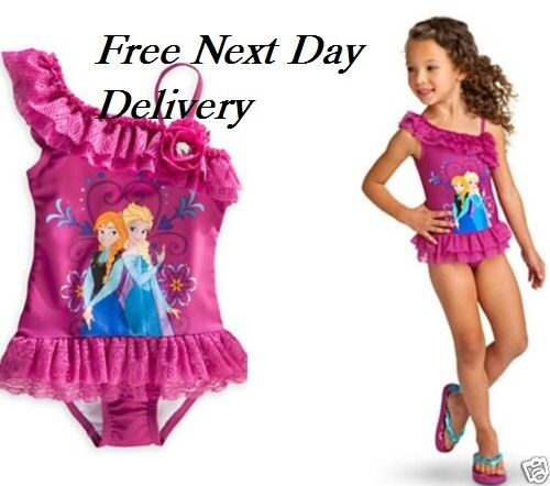 Frozen Swimming Costume Pink  Elsa Anna Swim Suit Swimwear one piece UK