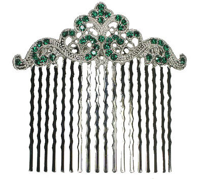 Green Hair Comb Emerald Color Crystal Bridal Bridesmaid Wedding Party Prom