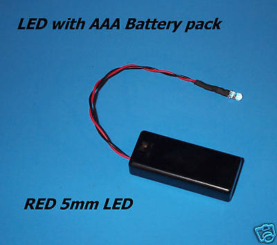 RED 5mm LED WITH AAA BATTERY PACK & SWITCH (Halloween / projects / diy) (Halloween Diy Projects)