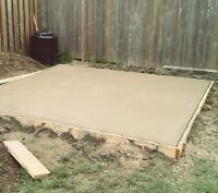 cement pads for hot tubs or sheds as well as landscape