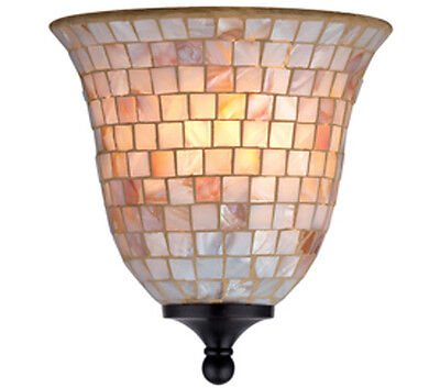 1 Light Wall Sconce Mosaic Tile Aged Bronze Hardwire Lighting Fixture
