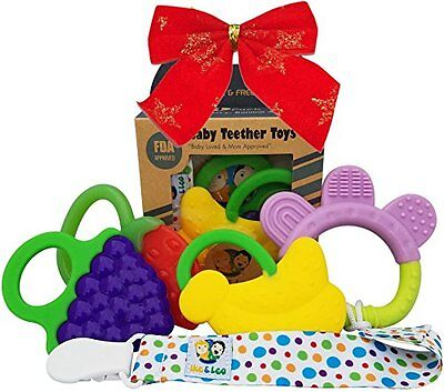Baby Infant and Toddler WITH Clip/Teether Holder, Best for Sore Gums Pain